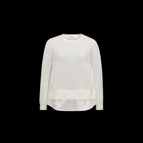 cheap MONCLER Women crewneck  ivory sale