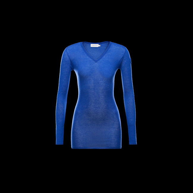 2016 Outlet Store - MONCLER WOMEN MAGLIA SCOLLO A V BRIGHT BLUE