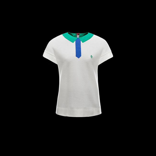 2016 Outlet Store - MONCLER WOMEN GRENOBLE Polo shirt WHITE